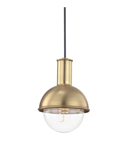 Mitzi® By Hudson Valley H111701-Agb Riley 1 Light Pendant In Aged Brass