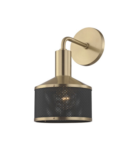 Mitzi® By Hudson Valley H119101-Agb/Bk Yoko 1 Light Wall Sconce In Aged Brass/Black