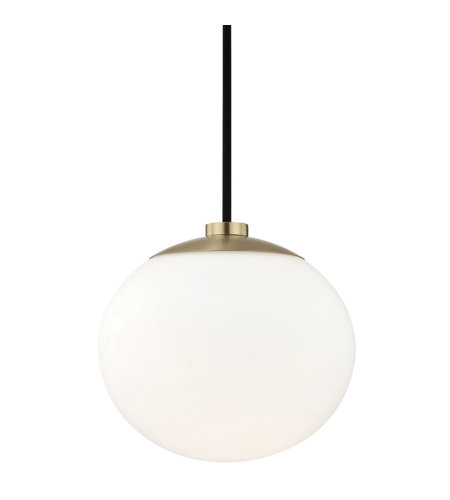 Mitzi by Hudson Valley Lighting H134701-AGB Estee 1 Light Pendant in Aged Brass