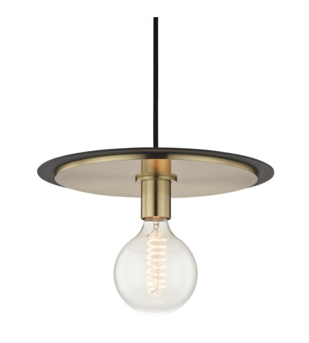 Mitzi® By Hudson Valley H137701l-Agb/Bk Milo 1 Light Large Pendant In Aged Brass/Black