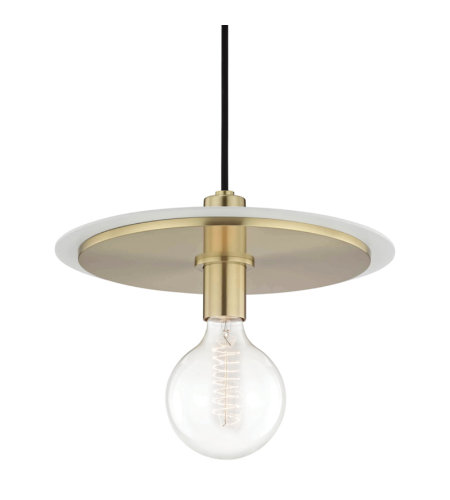 Mitzi® By Hudson Valley H137701l-Agb/Wh Milo 1 Light Large Pendant In Aged Brass/White