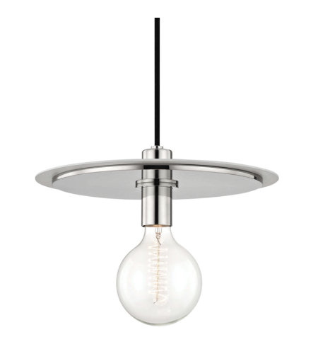 Mitzi® By Hudson Valley H137701l-Pn/Wh Milo 1 Light Large Pendant In Polished Nickel/White