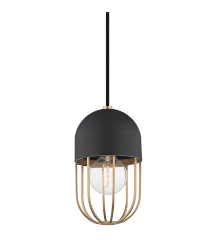 Mitzi® By Hudson Valley H145701-Agb/Bk Haley 1 Light Pendant In Aged Brass/Black