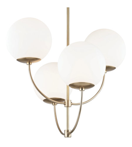 Mitzi® By Hudson Valley H160804-Agb 4 Light Chandelier In Aged Brass