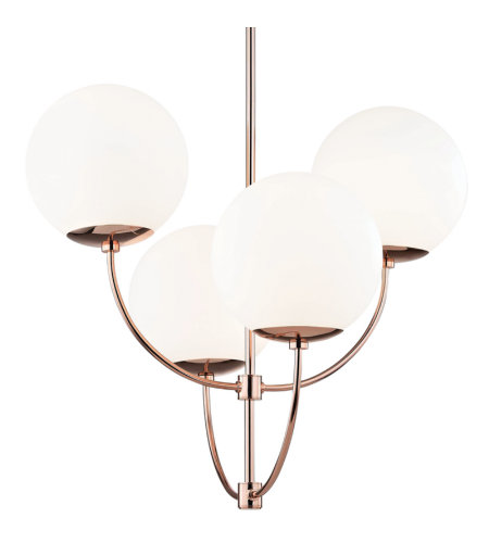 Mitzi® By Hudson Valley H160804-Poc 4 Light Chandelier In Polished Copper