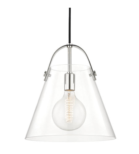 Mitzi by Hudson Valley Lighting H162701L-PN Karin 1 Light Pendant in Polished Nickel