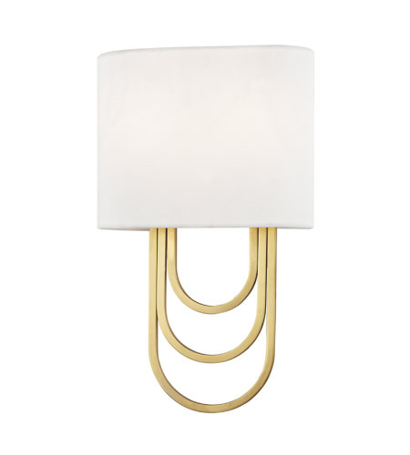 Mitzi By Hudson Valley H210102-AGB Farah 2 Light Wall Sconce in Aged Brass