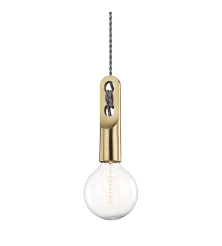 Mitzi by Hudson Valley Lighting H257701-AGB Angela 1 Light Pendant in Aged Brass