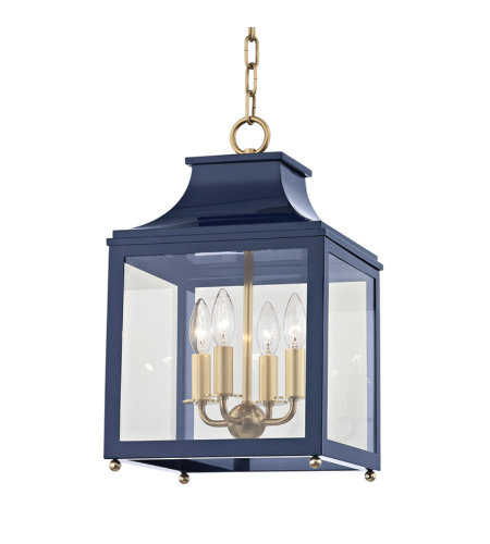 Mitzi® By Hudson Valley H259704s-Agb/Nvy Leigh 4 Light Small Pendant In Aged Brass/Navy