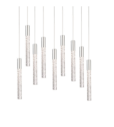 Modern Forms PD-35609-PN Magic LED 9 Light Round Chandelier 3000K in Polished Nickel