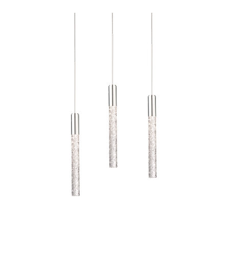 Modern Forms PD-35603L-PN Magic LED 3 Light Linear Chandelier 3000K in Polished Nickel