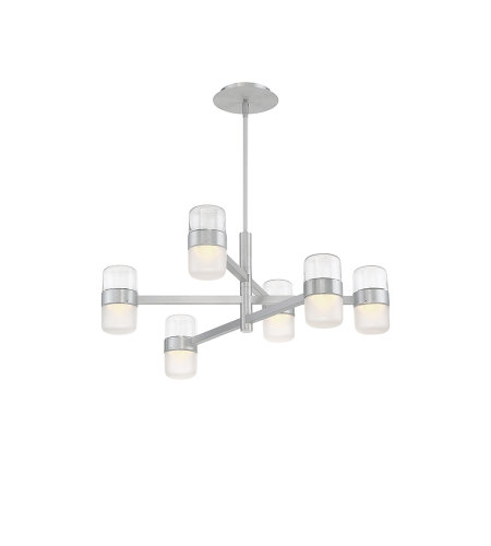 Modern Forms PD-25728-AL Jazz LED 6 Light Chandelier 3000K in Brushed Aluminum