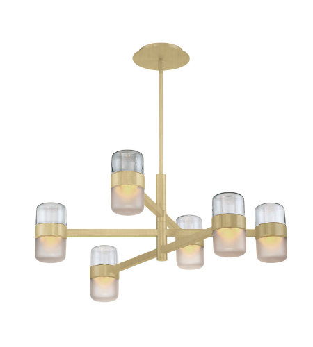 Modern Forms PD-25728-BR Jazz LED 6 Light Chandelier 3000K in Brushed Brass