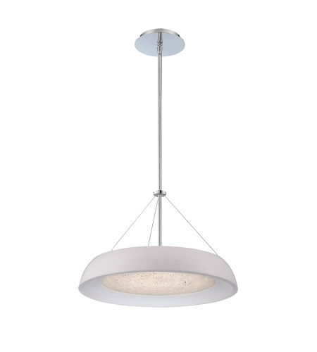 Modern Forms PD-51418-WT Soleil LED Pendant in White & Chrome