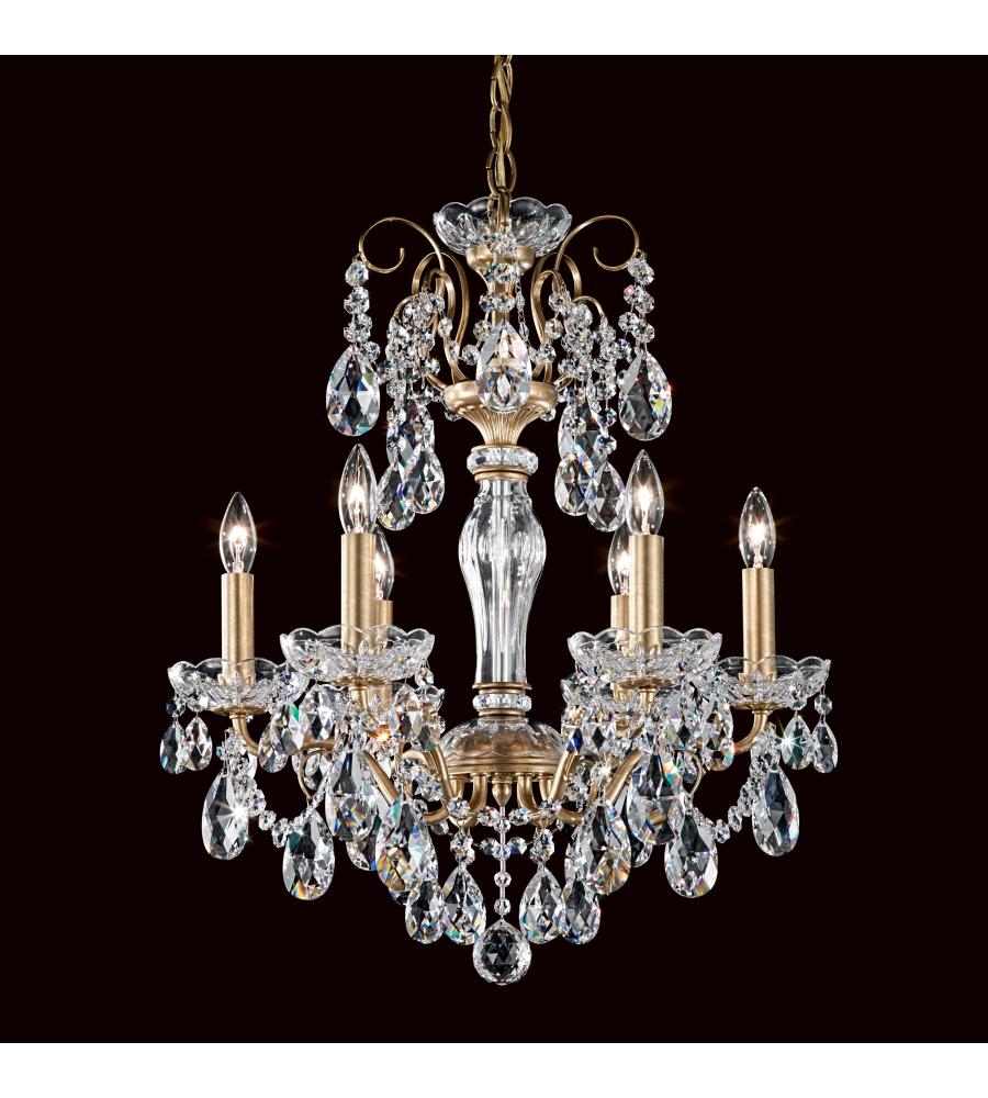 Schonbek st1941n 26h sonatina 6 light 110v chandelier in french gold schonbek st1941n 26h sonatina 6 light 110v chandelier in french gold with clear heritage crystal arubaitofo Gallery