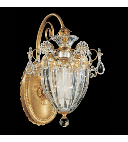 Schonbek 1240-23s Bagatelle 1 Light 110v Wall Sconce In Etruscan Gold With Clear Crystals From Swarovski