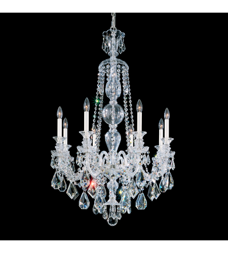Schonbek 5707bk Hamilton 8 Light 110v Chandelier In Jet Black With Jet Black Heritage Crystal