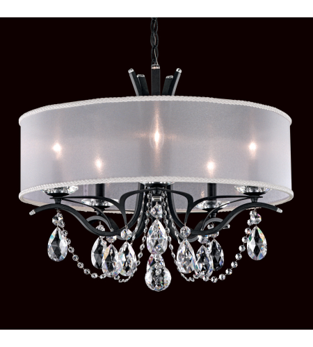 Schonbek Va8305n-26a2 Vesca 5 Light 110v Chandelier In French Gold With Clear Spectra Crystal And Shade Hardback Gold