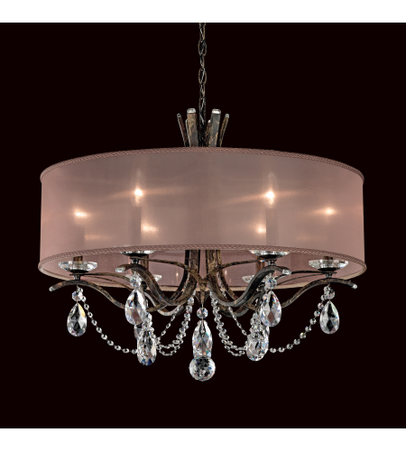 Schonbek Va8306n-26a2 Vesca 6 Light 110v Chandelier In French Gold With Clear Spectra Crystal And Shade Hardback Gold