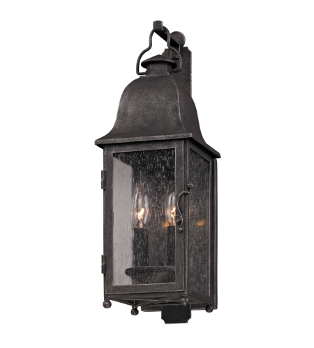 Troy Exterior Lighting B3211 Larchmont 2 Light Exterior Small Wall Mount Lantern in Aged Pewter