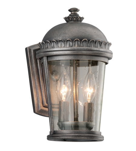 Troy Exterior Lighting B3561 Ambassador 2 Light Exterior Small Wall Mount Lantern in Aged Pewter
