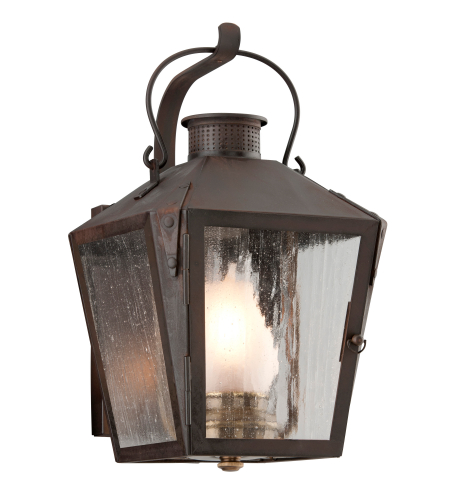 Troy Exterior Lighting B3761NR Nantucket 1 Light Exterior Small Wall Mount Lantern in Natural Rust