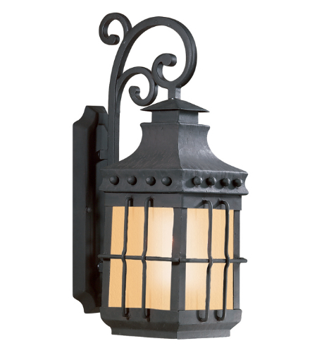 Troy Exterior Lighting BF8971NB Dover 0 Light Exterior WAmber Mist Glass Wall Mount Lantern in Natural Bronze