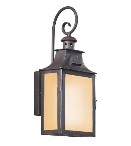 Troy Exterior Lighting BF9001OBZ Newton 0 Light Exterior WAmber Mist Glass Wall Mount Lantern in Old Bronze
