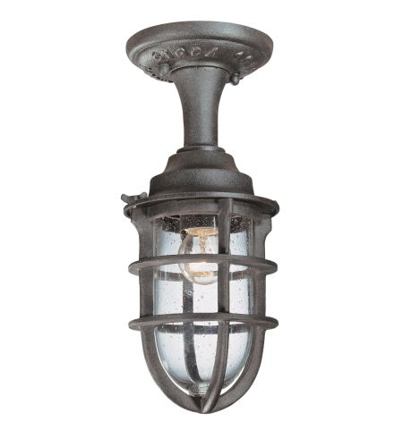 Troy Exterior Lighting C1863NR Wilmington 1 Light Exterior Small Ceiling Mount Semi-Flush in Nautical Rust