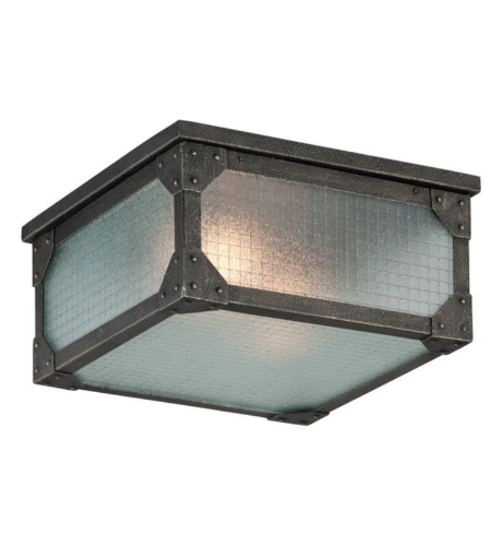 Troy Exterior Lighting C3870 Hoboken 2 Light Exterior Flush Ceiling Mount Flush in Aged Pewter