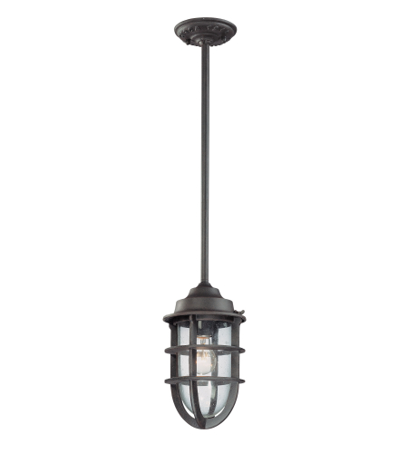 Troy Exterior Lighting F1862NR Wilmington 1 Light Exterior Medium Ceiling Mount Pendant in Nautical Rust