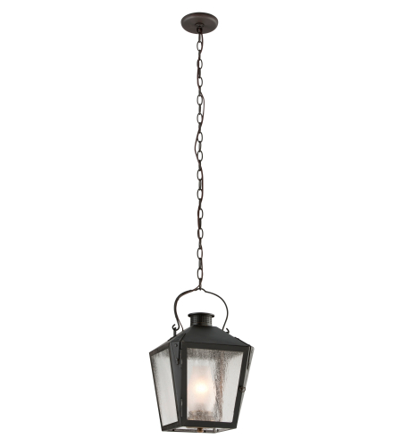 Troy Exterior Lighting F3766CI Nantucket 1 Light Exterior Medium Ceiling Mount Lantern in Charred Iron