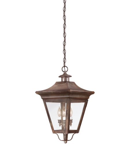 Troy Exterior Lighting F8935NR Oxford 3 Light Exterior Large Ceiling Mount Hanging Lantern in Natural Rust