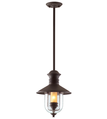 Troy Exterior Lighting F9362NB Old Town 1 Light Exterior Medium Ceiling Mount Hanging Lantern in Natural Bronze