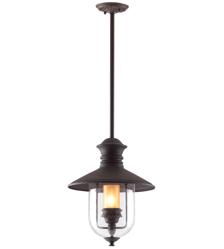 Troy Exterior Lighting F9363NB Old Town 1 Light Exterior Large Ceiling Mount Hanging Lantern in Natural Bronze