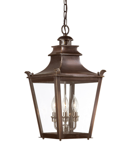 Troy Exterior Lighting F9498EB Dorchester 3 Light Exterior Medium Ceiling Mount Hanging Lantern in English Bronze