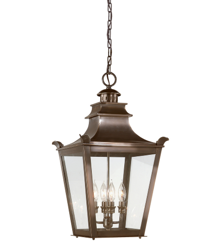Troy Exterior Lighting F9499EB Dorchester 4 Light Exterior Large Ceiling Mount Hanging Lantern in English Bronze
