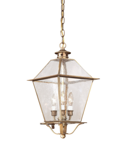 Troy Exterior Lighting FCD8956NAB Montgomery 3 Light Exterior Large Ceiling Mount Hanging Lantern in Natural Aged Brass