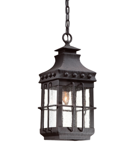 Troy Exterior Lighting FCD8973NB Dover 1 Light Exterior Medium Ceiling Mount Hanging Lantern in Natural Bronze