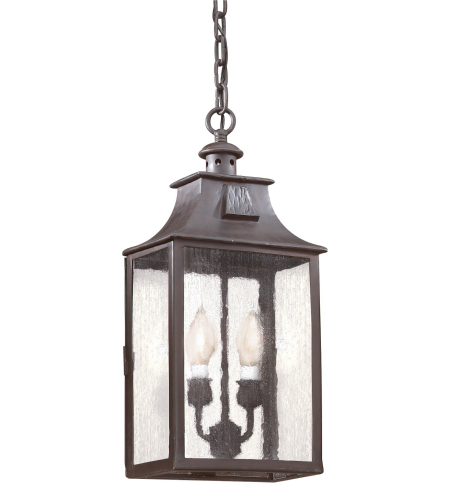 Troy Exterior Lighting FCD9004OBZ Newton 2 Light Exterior Medium Ceiling Mount Hanging Lantern in Old Bronze