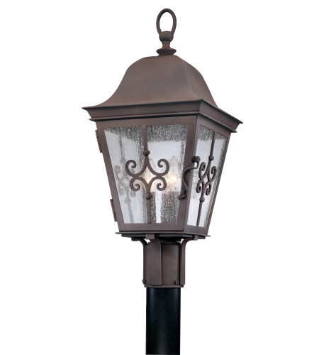 Troy Exterior Lighting P2355WB Markham 3 Light Exterior Medium Post Mount Lantern in Weathered Bronze