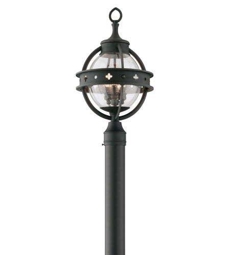 Troy Exterior Lighting P3684 Mendocino 3 Light Exterior Medium Post Mount Lantern in Forged Black