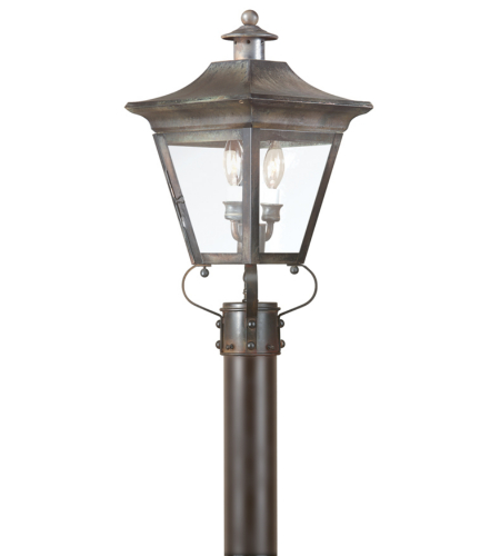 Troy Exterior Lighting P8931CI Oxford 2 Light Exterior Medium Post Mount Lantern in Charred Iron
