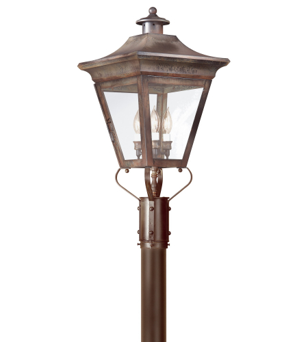 Troy Exterior Lighting P8934NR Oxford 3 Light Exterior Large Post Mount Lantern in Natural Rust