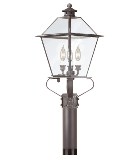 Troy Exterior Lighting P8955CI Montgomery 3 Light Exterior Large Post Mount Lantern in Charred Iron
