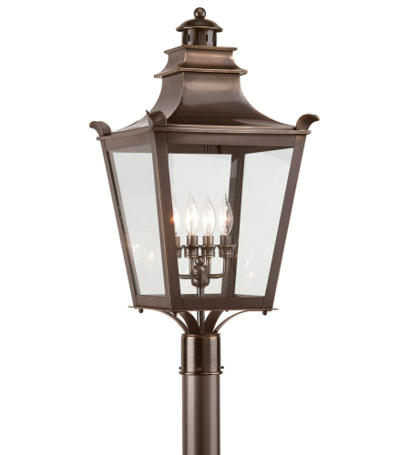Troy Exterior Lighting P9497EB Dorchester 4 Light Exterior Large Post Mount Lantern in English Bronze