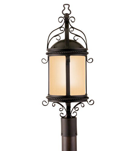 Troy Exterior Lighting PF9123OBZ Pamplona 1 Light Exterior WAmber Mist Glass Post Mount Lantern in Old Bronze