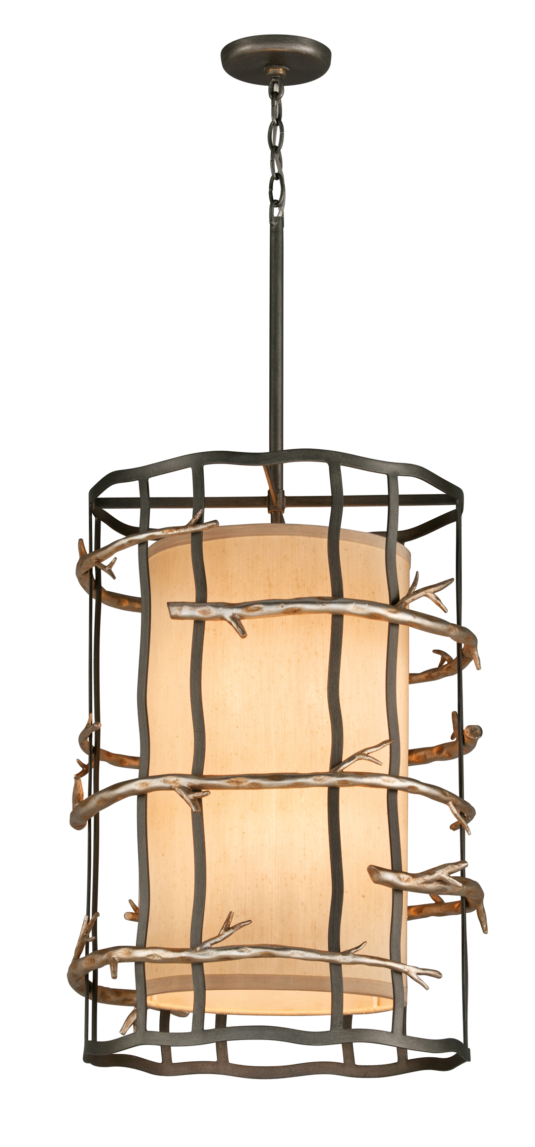 troy lighting f2884 adirondack 6 light pendant in graphite and