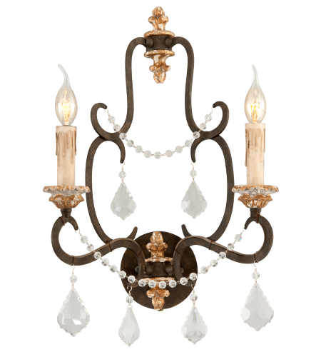 Troy Lighting B3512 Bordeaux 2 Light Wall Sconce in Parisian Bronze