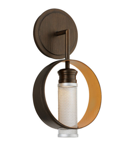 Troy Lighting Bl4891 Modern 1 Light Insight Wall Sconce In Modern Bronze W/ Gold Leaf And Silver